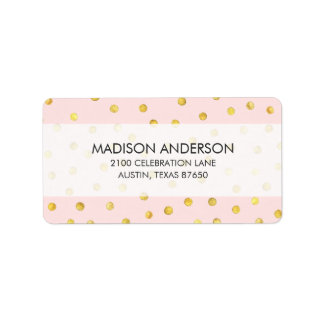 Elegant Pink And Gold Foil Confetti Dots Pattern Address Label