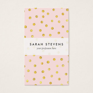 Elegant Pink And Gold Foil Confetti Dots Pattern Business Card