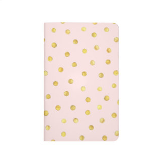 Elegant Pink And Gold Foil Confetti Dots Pattern Journal