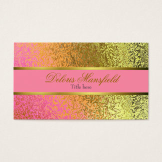 Elegant Pink and Gold Foil Look Business Card