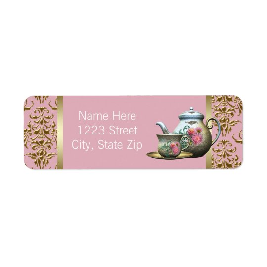 Elegant Pink and Gold Teapot Address Labels