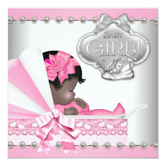 Elegant Pink and Gray African American Baby Shower Personalized Invite
