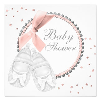Elegant Pink and Gray Baby Shower Card