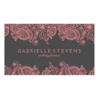 Elegant Pink And Gray Paisley Lace Pack Of Standard Business Cards