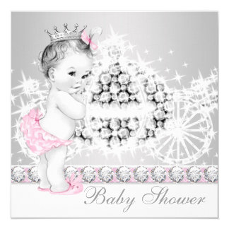 Elegant Pink and Gray Princess Baby Shower Card