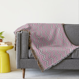 Elegant Pink and Grey Chevrons Throw Blanket