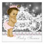 Elegant Pink and Grey Princess Baby Shower 13 Cm X 13 Cm Square Invitation Card