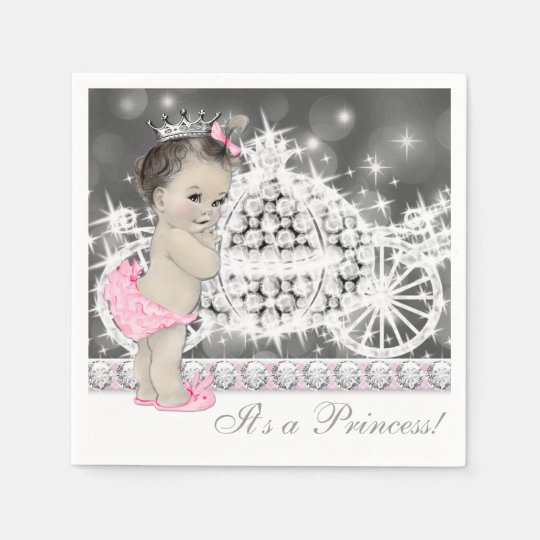 Elegant Pink and Grey Princess Baby Shower Paper