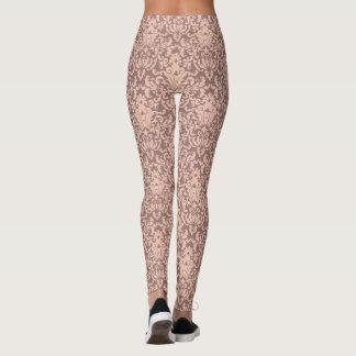 Elegant Pink and Mauve Damask Pattern Leggings