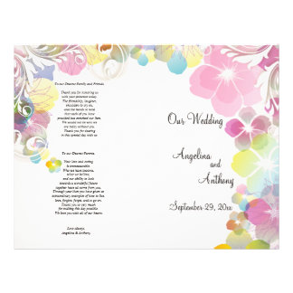 Elegant Pink And Multi Color Pansies With Swirls 21.5 Cm X 28 Cm Flyer