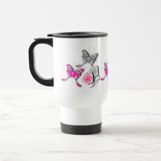 Elegant Pink And Silver Butterflies And Roses Coffee Mugs