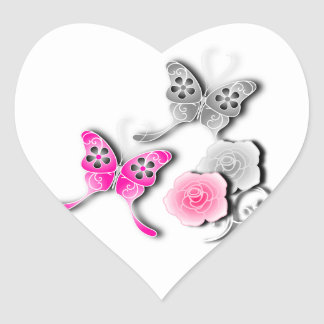 Elegant Pink And Silver Butterflies And Roses Heart Stickers
