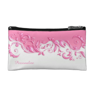 Elegant Pink and White Satin Cosmetic Bag
