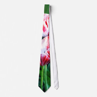 Elegant Pink And White Striped Tulips Tie