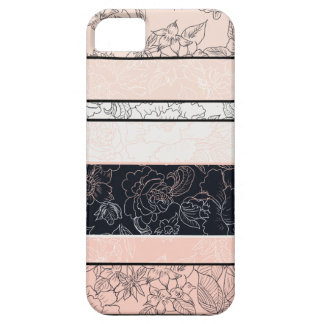 Elegant pink black color block handdrawn flowers iPhone 5 case