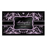 Elegant Pink & Black Damask Wedding Planner Business Card Template