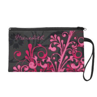 Elegant Pink Black Floral Personalized Wristlet