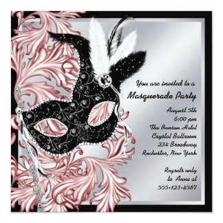 Elegant Pink Black Masquerade Party Card