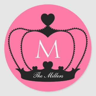 Elegant Pink & Black Monogram Crown Sticker