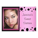Elegant Pink Black Spots Photo Sweet 16 Personalized Announcements
