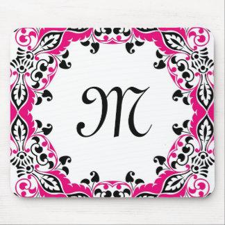 Elegant Pink  Black & White Design with Monogram Mouse Mat