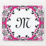 Elegant Pink  Black & White Design with Monogram Mousepad