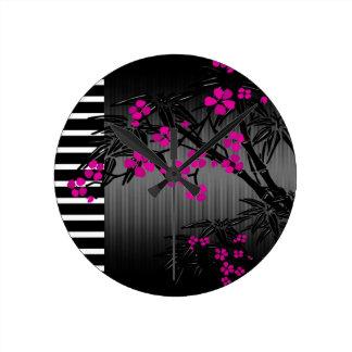 Elegant Pink Blossom Black Asian Bamboo Round Clock