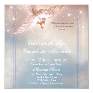 Elegant Pink Blue Dove In Loving Memory Memorial 13 Cm X 13 Cm Square Invitation Card