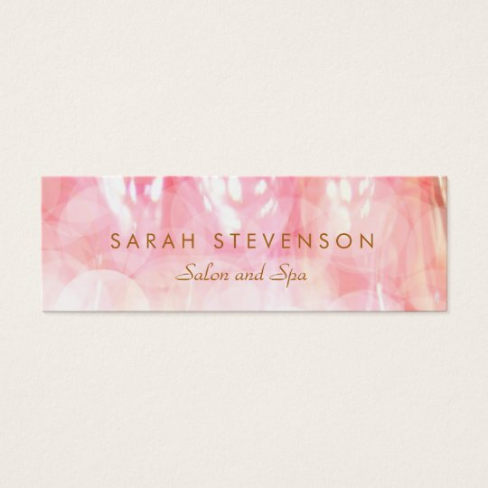 Elegant Pink Bokeh Cosmetology Spa and Salon Mini Business Card