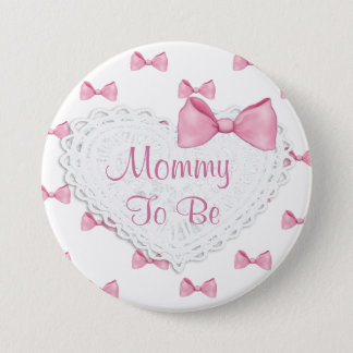 Elegant Pink Bows Mummy to be Baby Shower button