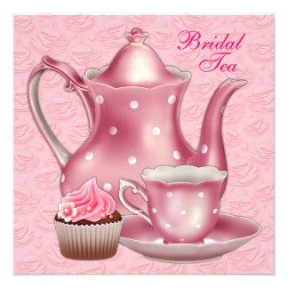 Elegant Pink Bridal Tea Party Custom Invitation
