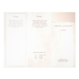 Elegant Pink Brushed Marble Salon Spa Brochure 21.5 Cm X 28 Cm Flyer