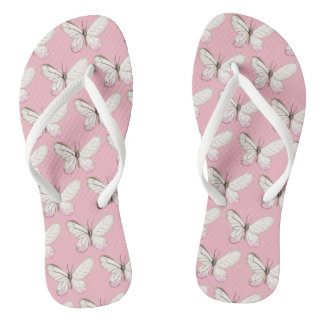 Elegant Pink Butterflies Pattern Flip Flops