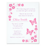 Elegant Pink butterfly baby shower party 11 Cm X 14 Cm Invitation Card