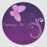 """""""Elegant Pink Butterfly"""" Beautiful Expressions Round Stickers"""