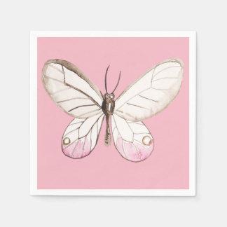 Elegant Pink Butterfly Paper Napkins
