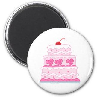 Elegant Pink Cake 6 Cm Round Magnet