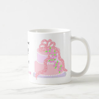Elegant Pink Cake Save The Date Basic White Mug