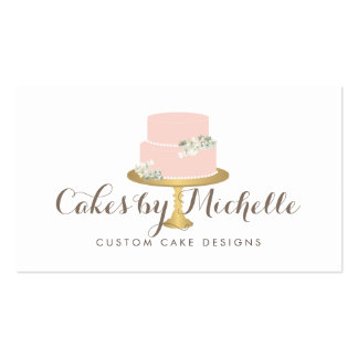 Elegant Pink Cake with Florals Cake Decorating Pack Of Standard Business Cards
