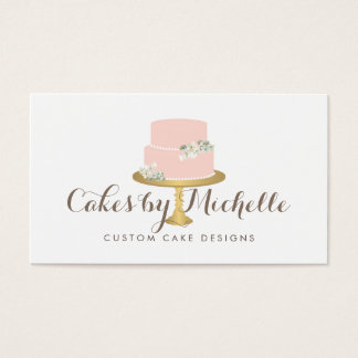 Elegant Pink Cake with Florals Cake Decorating Business Card