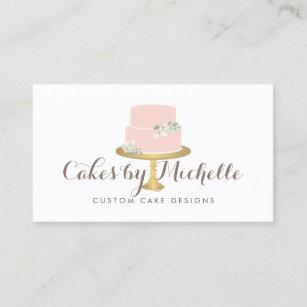 Cake decorating business cards zazzle uk elegant pink cake with florals cake decorating business card reheart Images