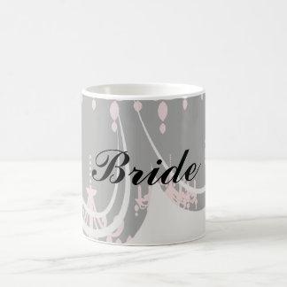 elegant pink chandelier damask on black mugs
