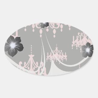 elegant pink chandelier damask on black oval sticker