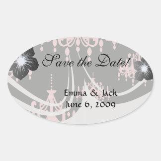 elegant pink chandelier damask on black stickers