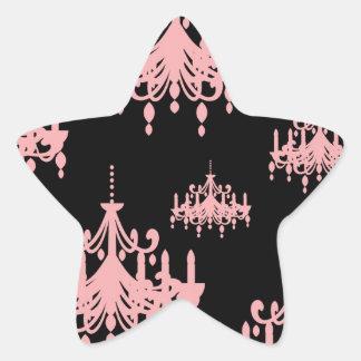 elegant pink chandelier damask on black star sticker