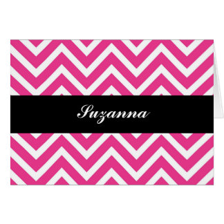 Elegant Pink Chevron and Black Personalised Card
