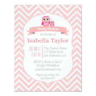 "Elegant Pink Chevron Owl Baby Girl Shower Party 4.25"" X 5.5"" Invitation Card"