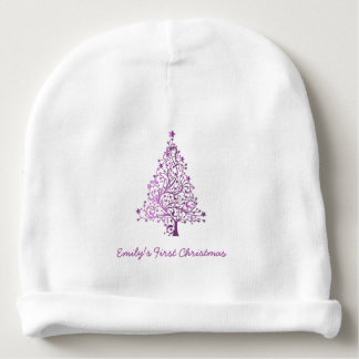 Elegant Pink Christmas Tree First Christmas Baby Baby Beanie