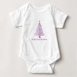 Elegant Pink Christmas Tree Holiday Season Baby Bodysuit