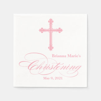 Elegant Pink Cross Christening Personalized Napkin Disposable Serviette
